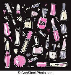 aufmachung, set., cosmetics.