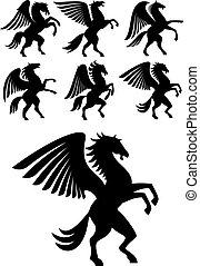 Aufsteigend geflügelte pegasus schwarze Pferde