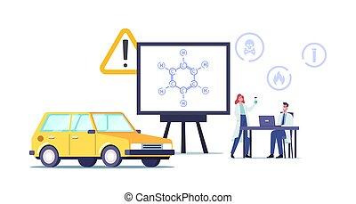auftanken, c6h6., schirm, formel, charaktere, laboratorium, benzene, winzig, wissenschaftler, erdöl, riesig, ring, kohlenwasserstoff