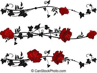 Aufteilen mit Rosen und Efeu.