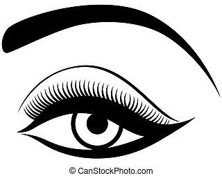 Auge mit flauschigem Augenlid.