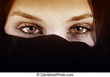 Augen einer arabischen Frau mit Schleier.
