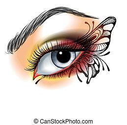 Augen machen sich mit Schmetterling.