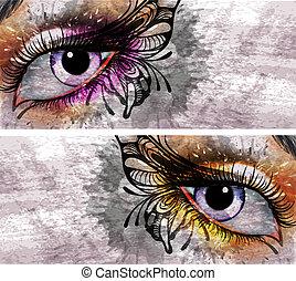 Augen machen sich mit Schmetterlingsgrunge Hintergrund.