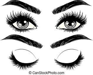 Augen mit langen Wimpern und Stirnen.