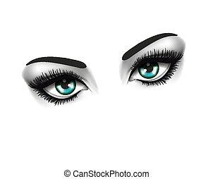 Augenmode und Schönheitskonzept. Zwei Augen auf weißem Hintergrund