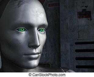 augenpaar, roboter, gesicht, grüner hintergrund, zukunftsidee