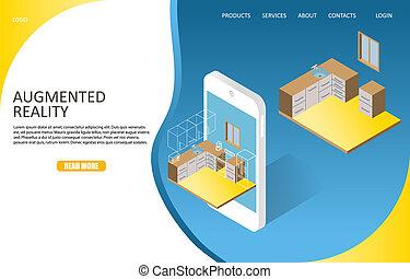 Augmented Reality Landing Page Website Vektor Vorlage