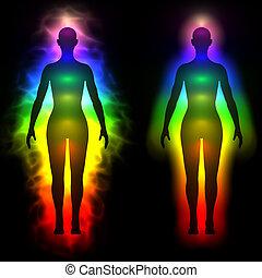 aura, frau, regenbogen, -, silhouette