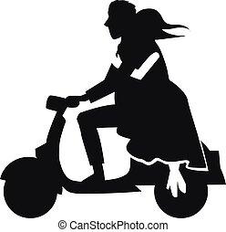 aus, paar, motorrad, silhouette