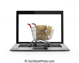 aus, shoppen, laptop, karren, kästen, online, concept.