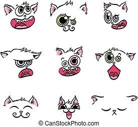 Ausdrucks-Emoticons. Set von kawaii cat Emoji.