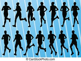 ausführlich, frau, sammlung, silhouetten, vektor, abbildung, hintergrund, aktive, läufer, marathon, mann