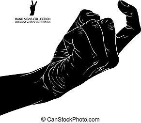 ausführlich, illustration., zeichen, hand, vektor, schwarz, weißes, kommen