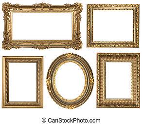 ausführlich, quadrat, gold, weinlese, oval, rahmen, picure, leerer