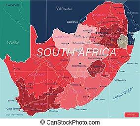 ausführlich, südafrika, land, editable, landkarte