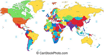 ausführlich, welt, mehrfarbig, landkarte