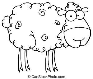 Ausgebildete Schafe fressen Gras.