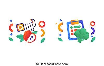 ausgeglichen, abbildung, diät, symbole, wohnung, gesundes essen, vektor, lebensstil, satz, zeichen & schilder