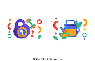 ausgeglichen, sport, hantel, lebensmittel, satz, symbole, wohnung, ausrüstung, diät, kessel, grün, abbildung, zeichen & schilder, gesunde, tee, vektor, glas, kettlebell, lebensstil