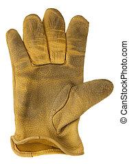 Ausgelöst mit gelbem Lederhandschuh