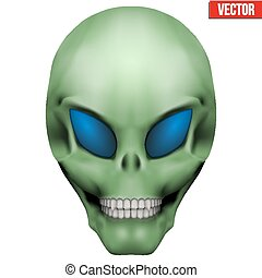 ausländer, skull., vektor, humanoid, kreativ