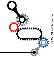 ausrüstung, box-mechanical, industrie, komplex