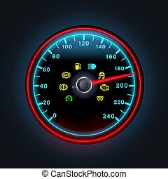 ausruf, warnung, gelber , punkt, licht, benzin, illustration., hell, digital, motor, vektor, armaturenbrett, heiligenbilder, anzeiger, neon, waschbrettbauch, geschwindigkeitsmesser