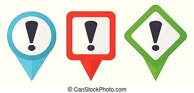 Ausrufezeichen rote, blaue und grüne Vektorzeigersymbole. Farbige Positionsmarker, isoliert auf weißem Hintergrund leicht zu bearbeiten.