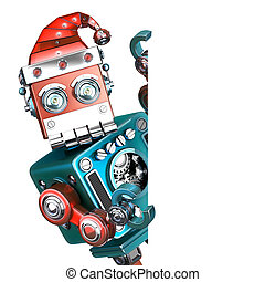 ausschnitt, isolated., enthält, roboter, anschauen, retro, santa, leer, board., pfad, heraus