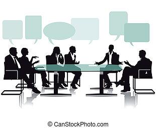 Aussprache und Diskussion im Büro.