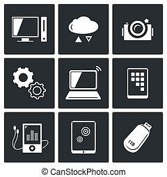Austausch von Symbolen der Informationstechnologie gesetzt.