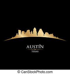 Austin-Texas-Silhouette-Schwarz-Hintergrund