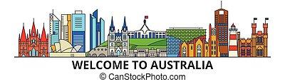 Australien skizzierte Skyline, australische flache dünne Linien Icons, Wahrzeichen, Illustrationen. Australien Cityscape, australische Reisestadt-Vektorbanner. Urban Silhouette