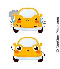 auto, auto, traurige , glücklich, reizend, gelber , kaputte