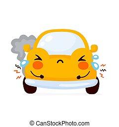 auto, auto, traurige , reizend, gelber , kaputte