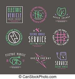 auto, etiketten, satz, elektrisch
