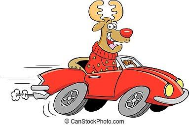 auto., fahren, sport, karikatur, rentier, umwandelbar