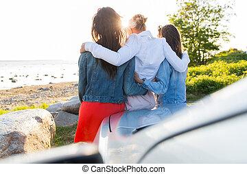auto, glücklich, oder, strand, frauen, mädels, jugendlich