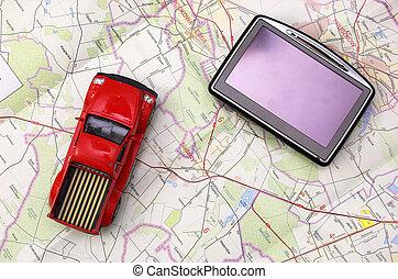 auto, gps, landkarte