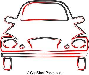 Auto Kalligrafische Aussicht, stilvolles Autodesign.