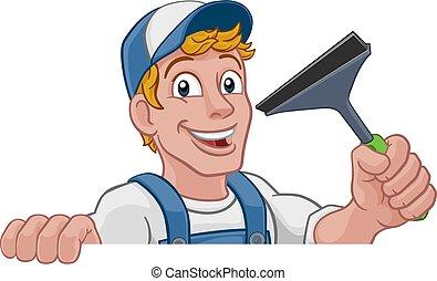 auto, karikatur, reiniger, waschen, squeegee, window, reinigt