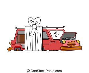 Auto mit Verband. Krankes Auto in Verband. Auto-Hilfe-Service