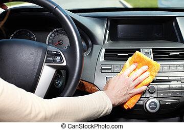 auto., putzen, hand