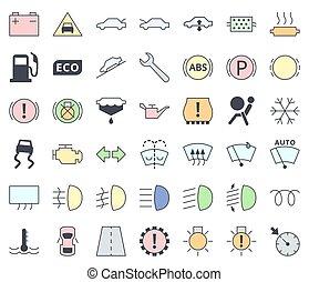 Auto-Schnittstelle und Indikatoren Icon Set, Füllen mit Pastellfarben - Wartungs-Vektorsymbole.