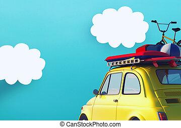 auto, sommer, straße, bereit, holiday., gelber