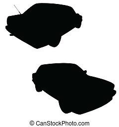 auto, vektor, silhouette, schwarz