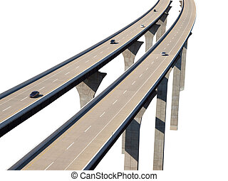autobahn, brücke, autos, isolierung