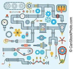 Automatische Vektorteile Roboter-Mechanik-Icons setzen die Herstellung automatisches Design. Gear mechanische Ausrüstung Teil Industrie technischen Motor. Maschinenbau-Werkzeug