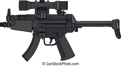 Automatische Waffe mit optischem Blick.
